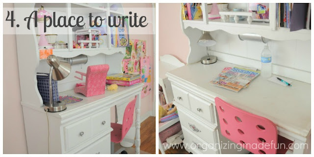 A place to write  - Set up the desk for your guest to write things down :: OrganizingMadeFun.com