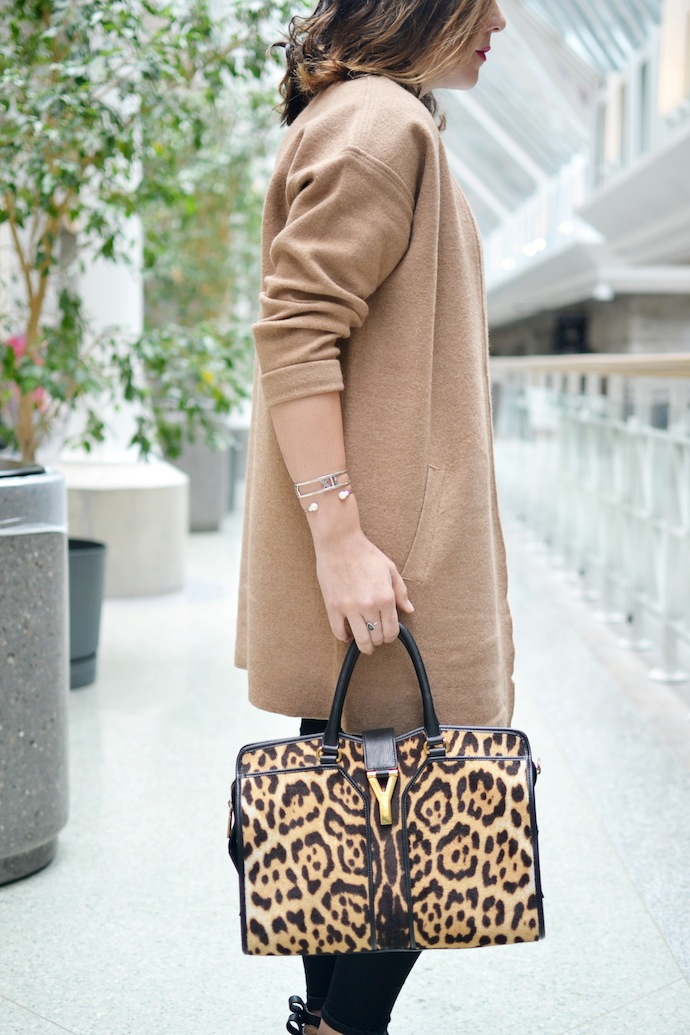 Lord and Taylor Camel Merino Wool cardigan coat leopard YSL Cabas Chyc bag