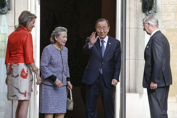 King Philippe of Belgium and Queen Mathilde of Belgium, UN Secretary-General Ban Ki-moon and his wife Yoo Soon-teak