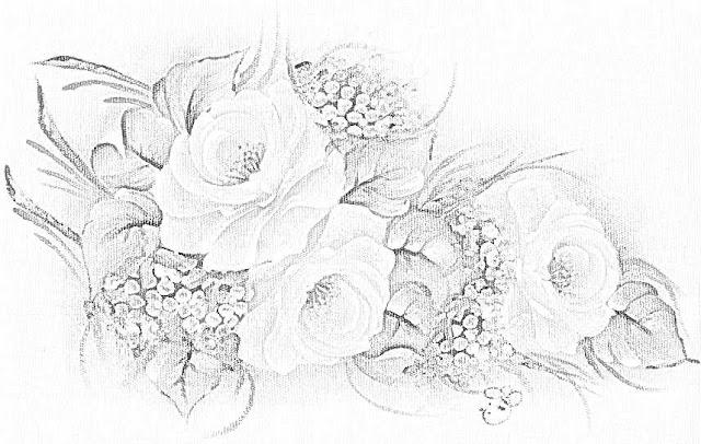desenho gráfico de rosas para pintar