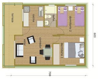 planos Casas Prefabricadas Modelo Panguipulli 44 metros cuadrados casur