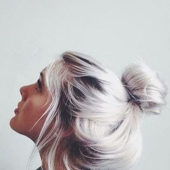 silver top knot hairstyle