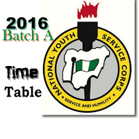 2016 Nysc Batch 'A' Mobilization Time Table is Out
