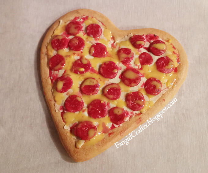 Heart-Shaped Pepperoni Pizza Brooch WIP