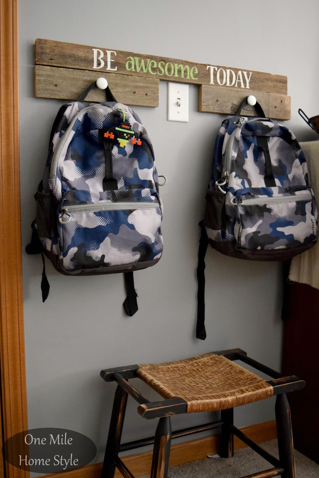 051ec02c02 Back to School Backpack Drop Zone using reclaimed wood and knobs