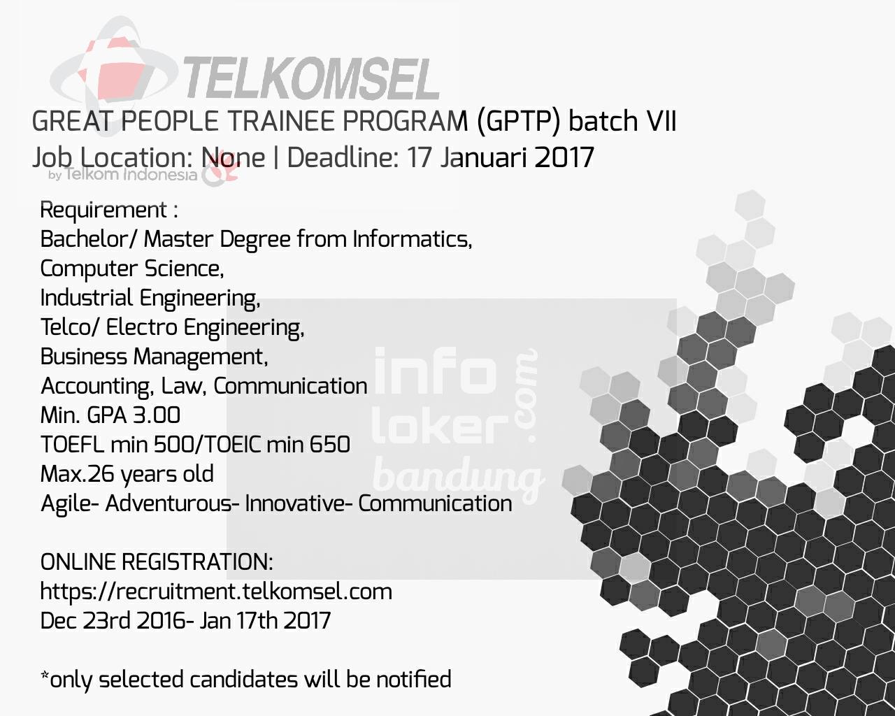 Lowongan Kerja PT. Telkomsel Desember 2016