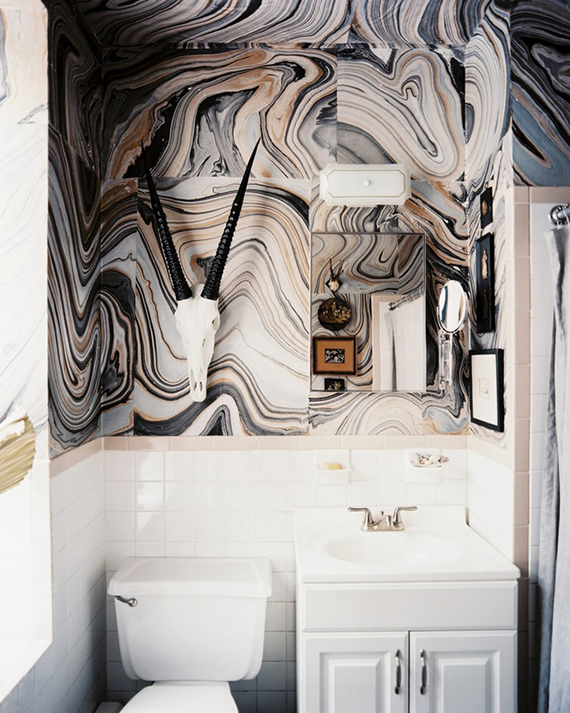 Bathrooms with bold patterned walls | Image by Patrick Cline via Scout Designs