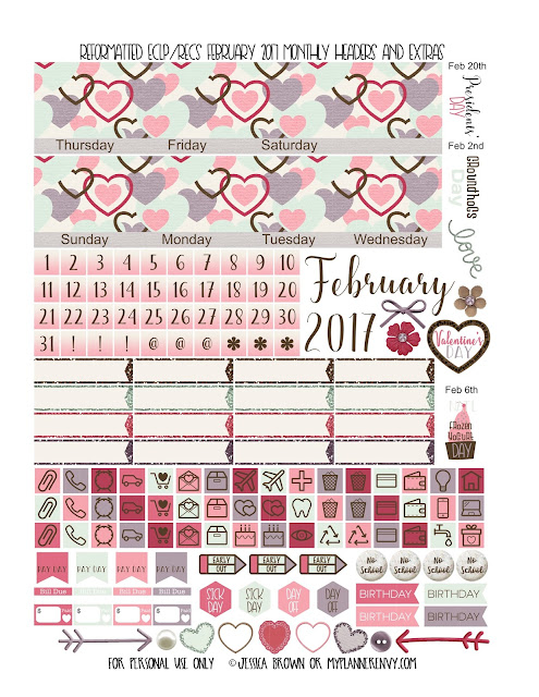 Reformatted February 2017 Monthly Headers & Extras for the Vertical Erin Condren and Recollections Creative Year Planners from myplannerenvy.com