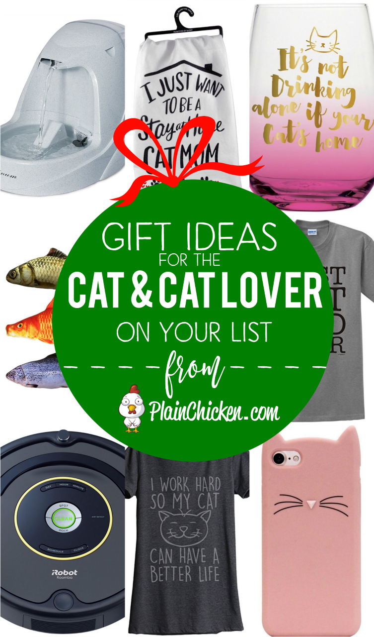 Gift Ideas for the Cat and Cat Lover on Your List - 14 of our favorite things for kitties and kitty lovers! Catnip toys, water fountain, best cat brush, cat wine glass, cat timer, cat phone charger. Lots of fun ideas that are PURRFECT for the cat lover on you Christmas shopping list!