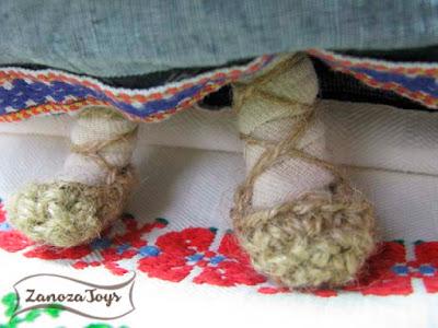 Лапти для куклы из джута