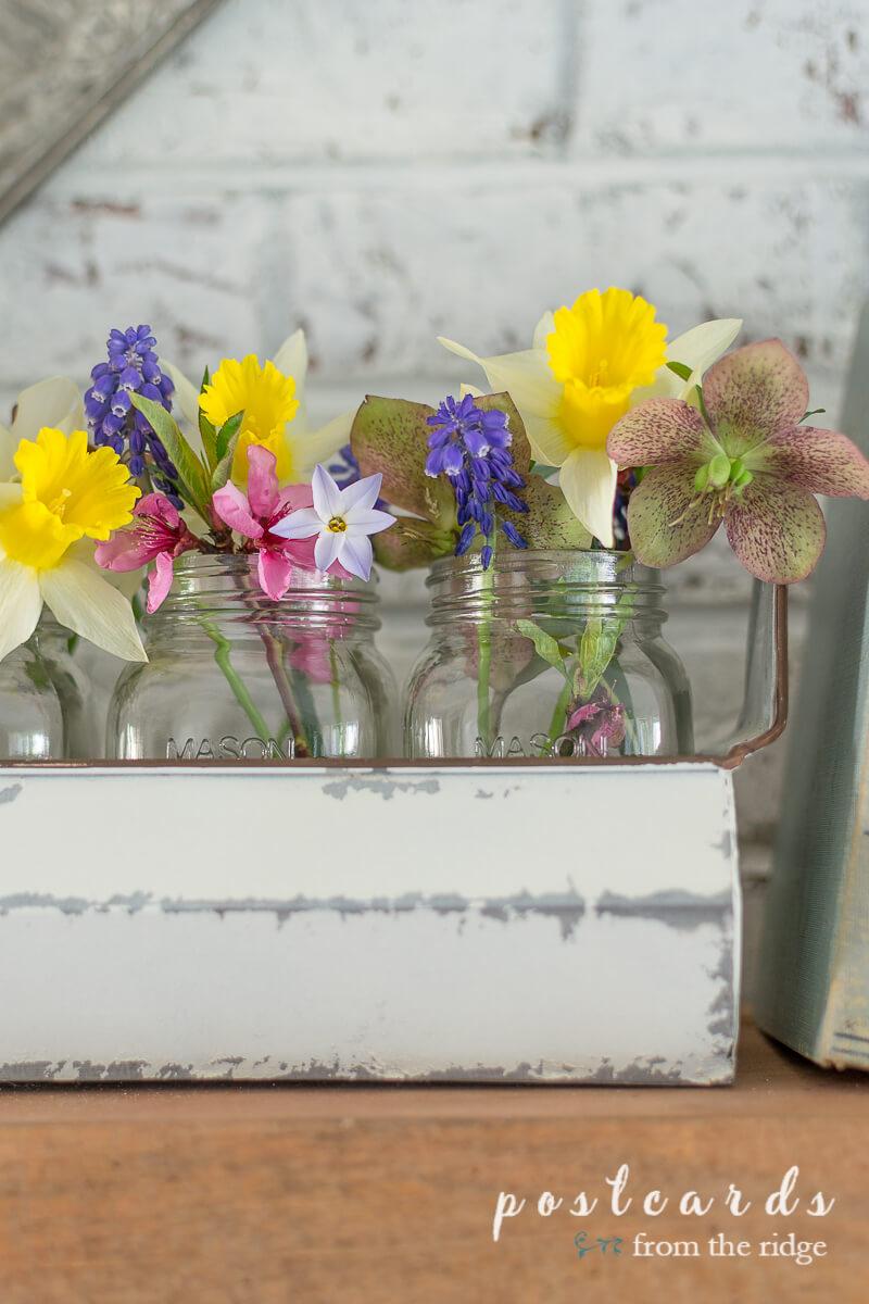 spring flowers in mason jars in chicken feeder planter