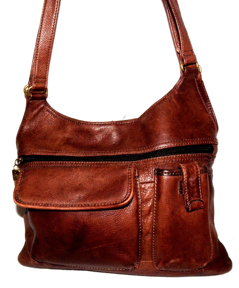 Vintage Fossil Leather Tote Bag Purse