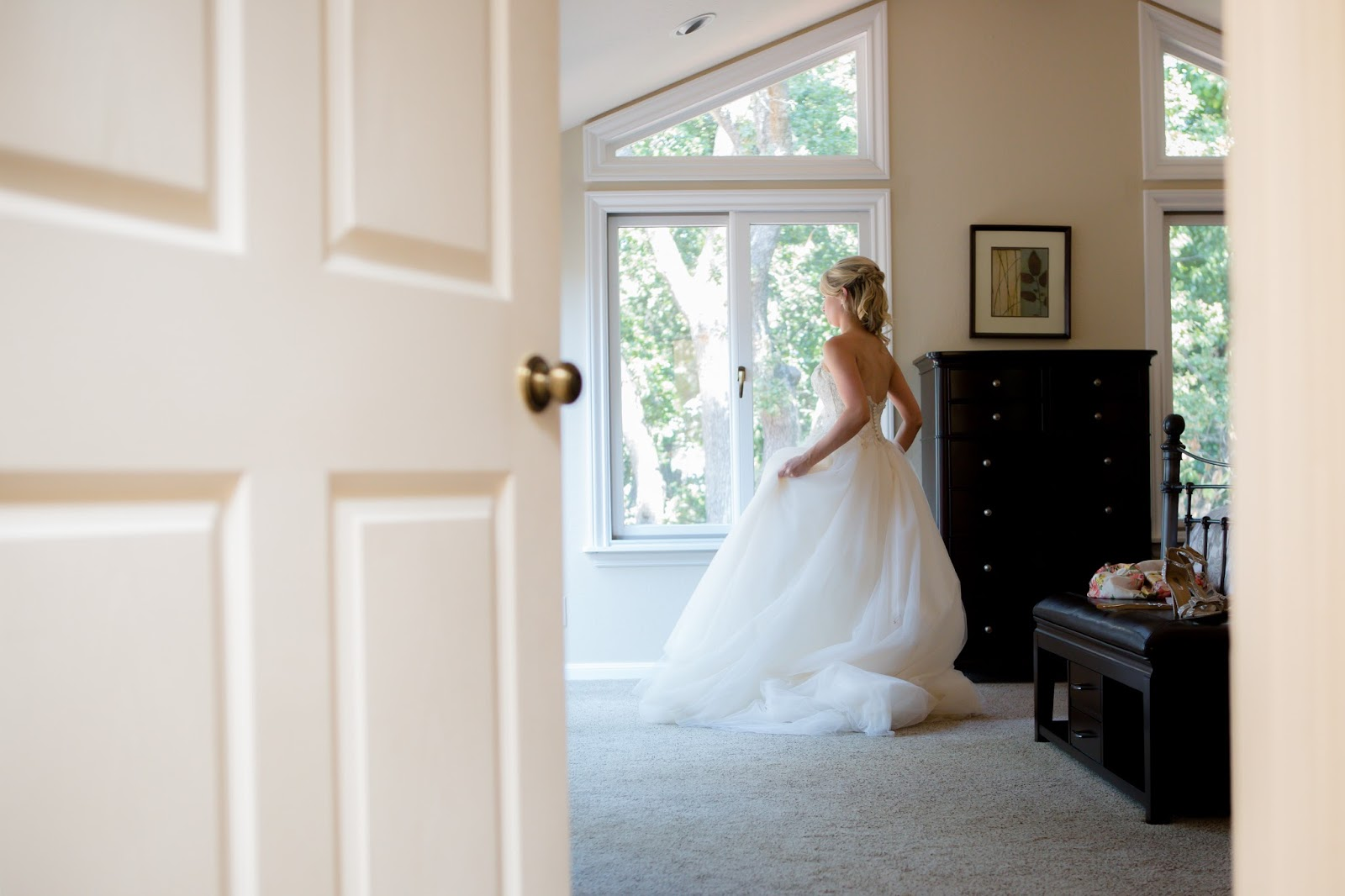 Bride looking outside