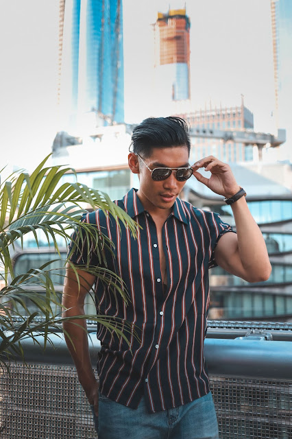 Leo Chan wearing Nautical Stripes, Burberry Aviator Sunglasses for a Poolside Look | Asian Male Model