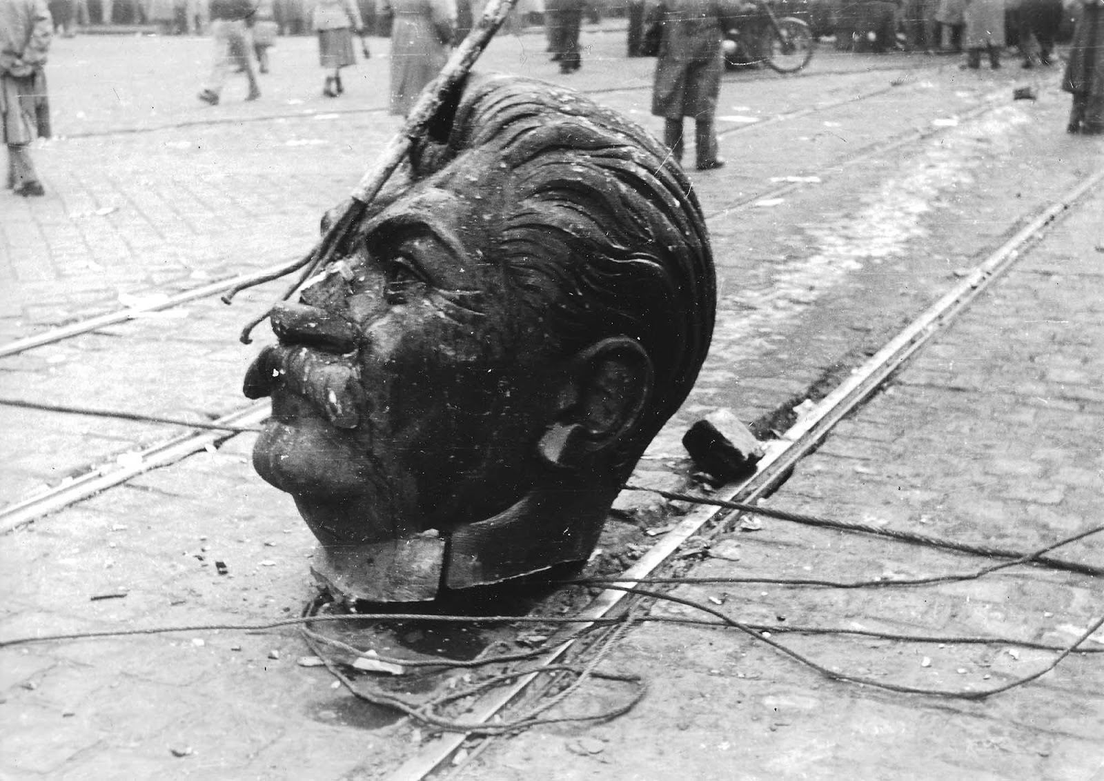 Stalin's monument was torn down on October 23, 1956, by enraged anti-Soviet crowds during Hungary's October Revolution.