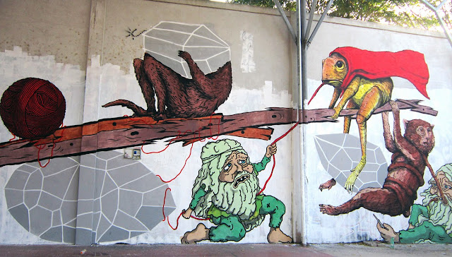 New Street Art Collaboration by Ericailcane, Bastardilla, Andreco, Hitness and Alleg on the streets of Rome, Italy.1