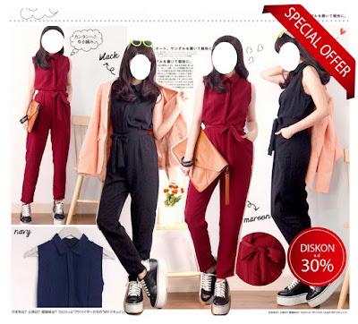 jumpsuit wanita elegan casual baju impor korea grosir murah
