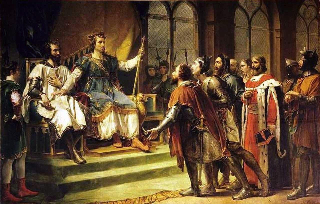 São Luís mediador num litígio entre o rei da Inglaterra e seus barões. Georges Rouget (1783-1869), Versailles