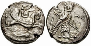 A Phoenician coin depicting Melqart riding a hippocamp on one side, and an Egyptian style owl standing with the crook and flail on the other side.