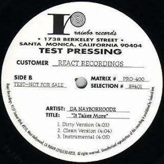 Da Nayborhoodz - Only Da Strong Survive / It Takes More (Promo VLS) (1995)