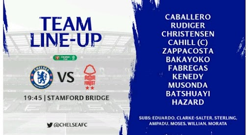 Chelsea team to face Nottingham Forest #CHENOT