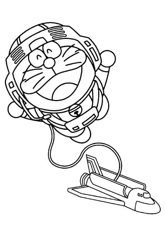 Tranh cho bé tô màu Doraemon làm phi hành gia