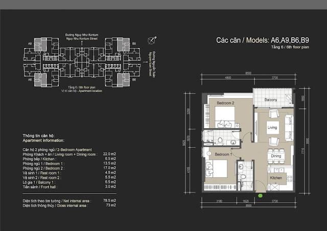 Mặt bằng căn hộ A6 A9 B6 B9 - 73m - The Legend