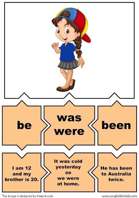irregular verbs flashcards, verb be