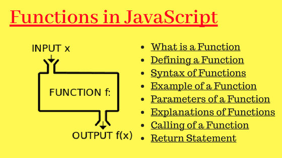 functions tutorials in javascript with diagram and list