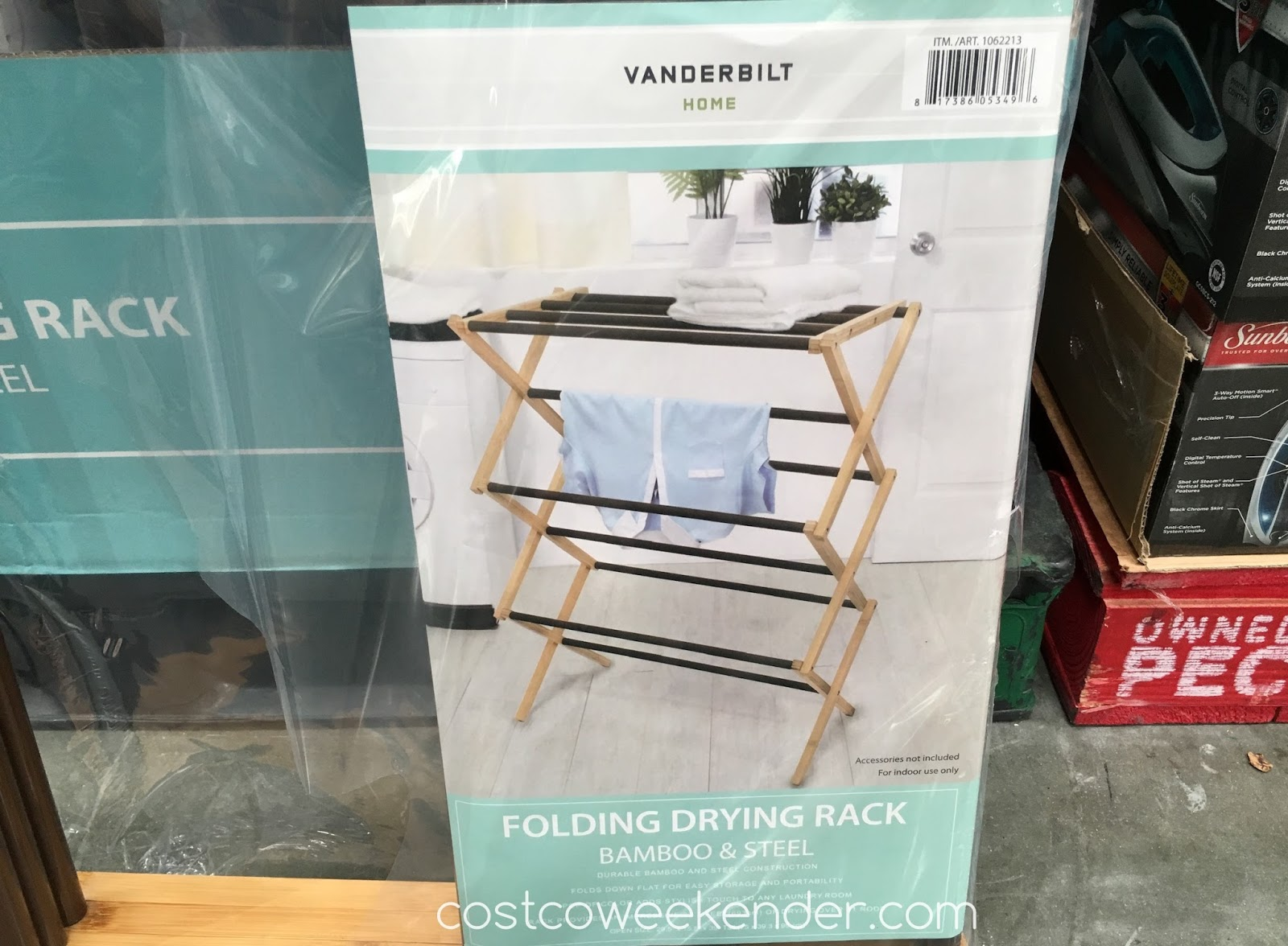 vanderbilt folding drying rack bamboo steel costco weekender. Black Bedroom Furniture Sets. Home Design Ideas