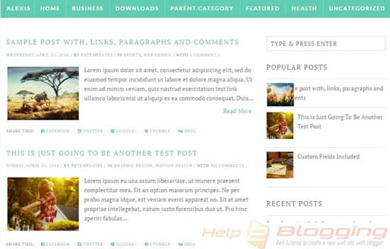 Alexis Responsive, Simple design Technology, Magazine, Personal blog etc Elegant Minimalist White, Green, Gray color Drop down menu Post Thumbnails Right Sidebars 2 Columns Blogger Template Download