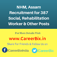 NHM, Assam Recruitment for 387 Social, Rehabilitation Worker, Manager, Physiotherapist Vacancies