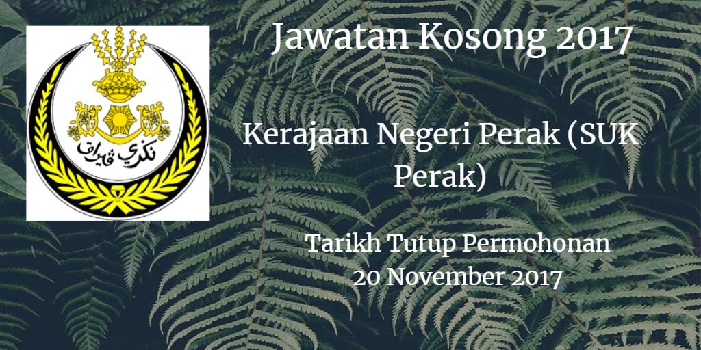 Jawatan Kosong Kerajaan Negeri Perak (SUK Perak) 20 November 2017