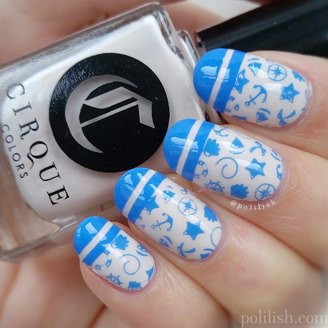 Nautical nails with Cirque Colors 'Don't Forget the Cannoli', by polilish