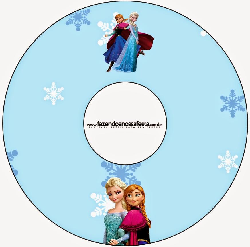 Etiqueta CD´s para Imprimir Gratis de Frozen Navidad Azul.