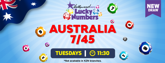 Australia 7/45 Lotto Draw - Hollywoodbets - Lucky Numbers