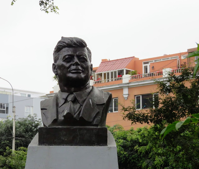 Bust of JFK in Parque Kennedy in the Miraflores District of Lima Peru