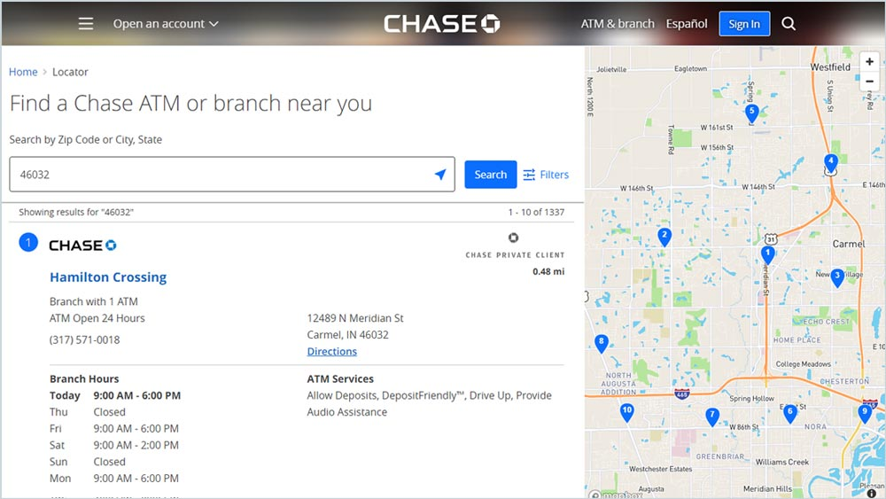 Chase Bank locations webpage design example
