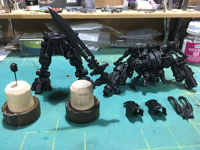 Grand Master in Nemesis Dreadknight WIP black primer laid down