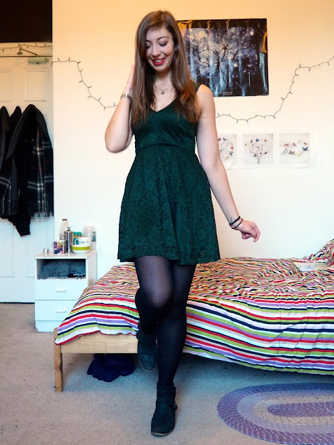 Birthday Party | Night out outfit of dark green lace dress, with black ankle boots and tights