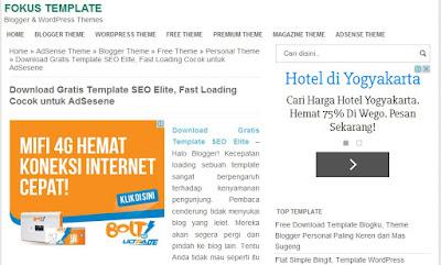 Cara Memasang Iklan Google AdSense di Kiri Atas dan Bawah Postingan Pada Template SEO Elite