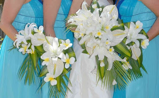 White Lily and Palm leaf Bridesmaid Wedding Bouquets