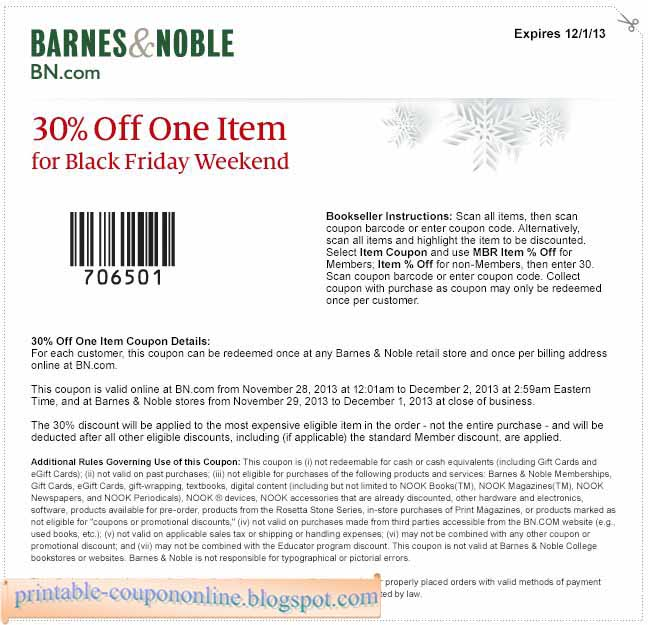 free printable barnes noble coupons