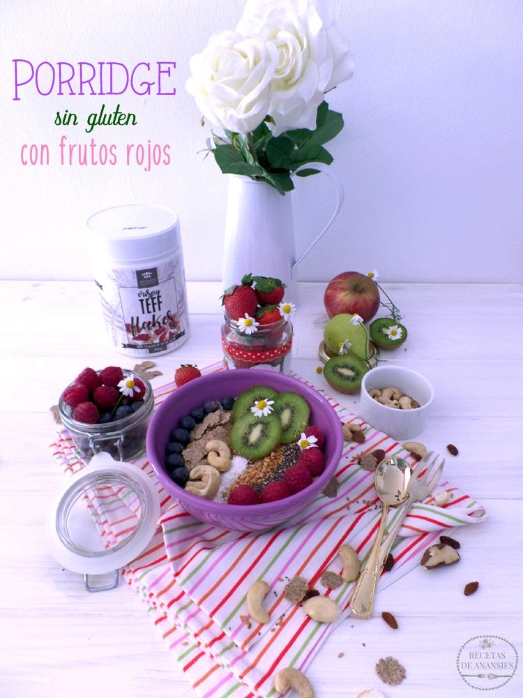 Porridge sin gluten con frutos rojos