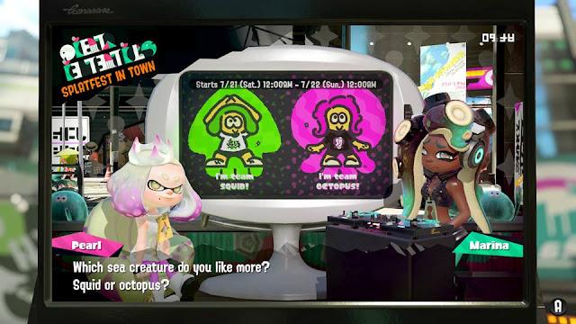 Splatoon 2 Splatfest Team Squid vs. Octopus sea creature Off the Hook announcement