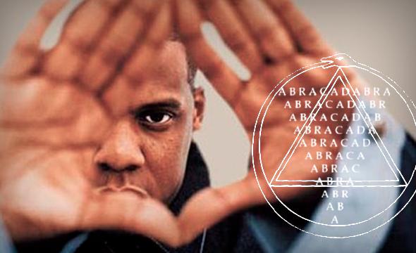 Cantante Jay-Z haciendo el símbolo del triángulo illuminati
