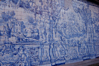 Portuguese ceramic tile adorns the walls of the cathedral's upper cloisters.
