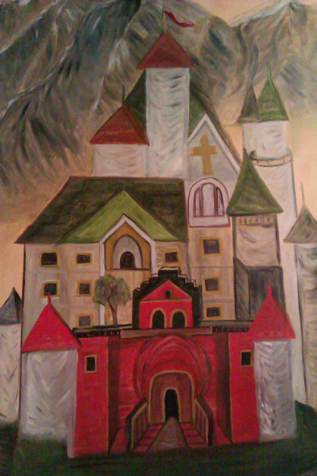 """The Schloss"" oil painting by Gloria Poole of Missouri; yr 2008; oil on canvas 48 x 60 inches"