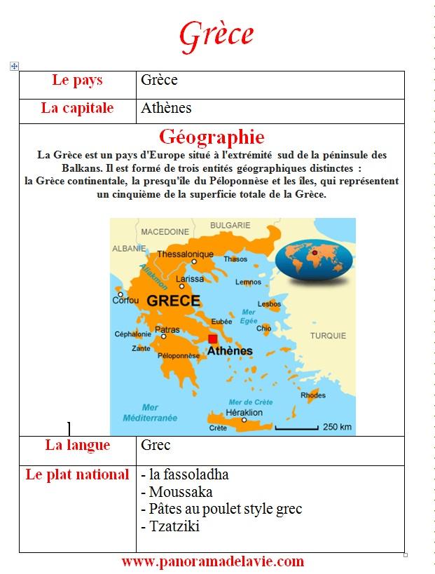 بحث جاهز حول اليونان  بالفرنسية