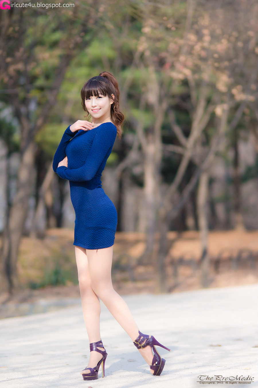 Cute Asian Girl Lee Eun Hye In Blue-5457